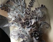Silver Lilac Applique #5, Beaded and Embroidered for GRAD, Lyrical Dance, Ballet, Couture Gowns, Costume Design