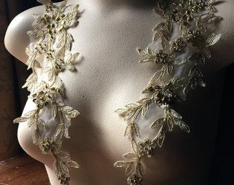 BRIGHT GOLD Beaded Applique Pair Lace for Lyrical Dance, Grad, Ballet, Bridal, Sashes, Costume Design PR 305