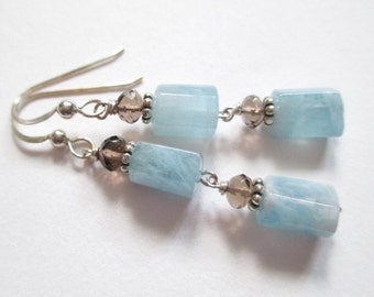 Aquamarine earrings, march birthstone, blue stone, sky blue earrings, sterling and stone earrings