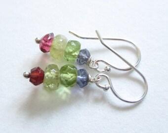 Rainbow earrings, sterling and stone earrings, rondelle stack earrings