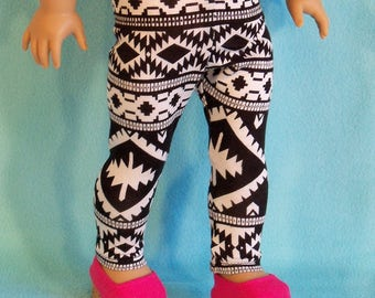 American Made Aztec 18 inch Black/White Doll Leggings