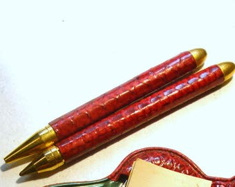 Tiny Writing Set, Purse Size Pen n Mechanical Lead Pencil, w Writing Pad, Red Vinyl Snap Holder, 1950s
