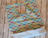 Toddler Pocket Bib | Mustache Rainbow Fabric | Absorbent Full Coverage Bib!