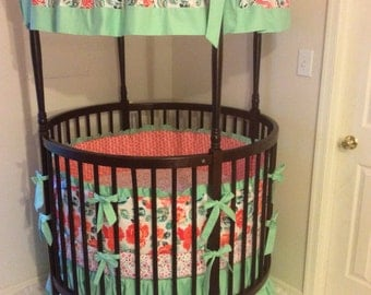 Baby Girl Round Crib Bedding Coral Mint and Teal Floral with Super Soft Knit Sheet