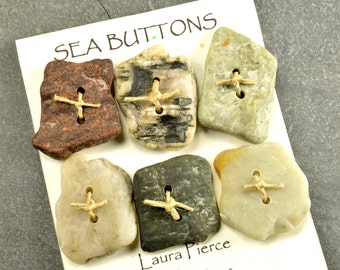 Six squares  a set of assorted color double drilled natural Maine sea / beach stone  buttons quirky fun embellishments