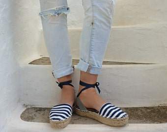 Espadrille Sandals. Navy Style Espadrilles in Blue and White Stripes. Summer Leather and Fabric Shoes. Women's Sandals. Greek Sandals.