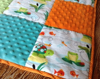 Minky Patchwork Quilt, Pastel and Bright Colors with Pond Life Flannel Print 36 x 48 inches crib size