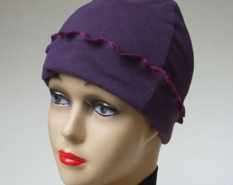 Organic Cotton Pixie Cap, Purple Hat, Pink Accent, Natural Cotton Cap, Women Chemo Hat, Reversible, Oil Treatment Cap, Cancer Hat, Small