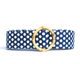 Polka Dot Belt, Blue polka dot fabric belt