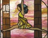 "18"" X  23"" Stained Glass ""Ballerina"" Pattern PDF B&W Digital Download"
