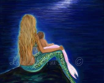 """Mermaid Art Mermaid Painting Mermaids Art Baby Nursery Wall Art Print Decor Mother Daughter """"Mermaids Precious Babies Moon"""" Leslie Allen"""