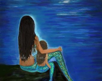 """Mermaid Art Mermaid  Print Mother Daughter Sisters Mermaid Theme Mermaids Mermaid Decor """"DARLING MOTHER & DAUGHTER""""  Leslie Allen Fine Art"""