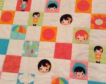 Memories Quilt  pink and turquoise