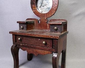 """Vintage Dollhouse Furniture - Wooden Vanity or Desk - Large 1"""" Scale - Star Novelty?"""