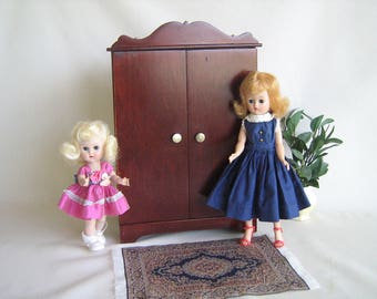 Vintage Doll Furniture- Hall's Lifetime Toys Mountain Cherry Doll Wardrobe with Brass Knobs in Play Scale for 8 to 12 Inch Dolls- EXCELLENT!