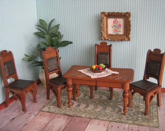 Antique Dollhouse Furniture-1900s German Oak Table w/ Four Chairs With Black Leather Seats Embossed w/ Gold Design-Large One Inch Scale