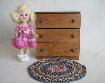 "Vintage Doll Furniture -  Hall's Lifetime-Early American Three Drawer Dresser in 1:6 Scale-For Small 8"" to 10"" Dolls"