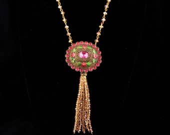 Antique Enamel Brooch / tassel necklace set / Pink green Ophelia's Garden / Gothic jewelry / 2 pc set /  goddess jewelry / estate jewelry