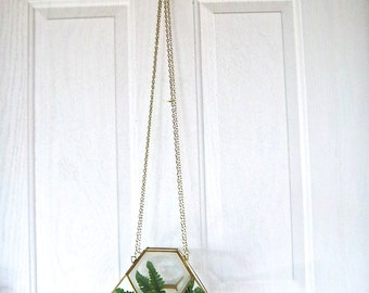 Vintage Glass and Brass Frosted and Clear Hexagon Hanging Planter Vintage Import Home Decor Vintage Home and Living Window Hanging Planter