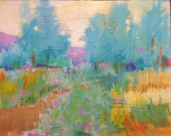 "6am Spring - Original Acrylic Oil Encaustic Landscape Painting - 14""x 11"""