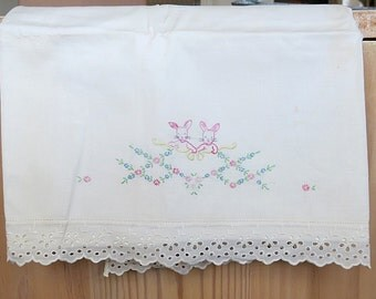 Crib Top Sheet Cotton Hand Embroidered Lace Trim Rabbit Scene 1960s 70s Vintage Home Sewn