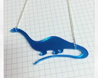 Mirrored plastic diplodocus necklace