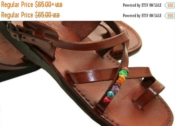 20% OFF 20 Percent OFF Brown Decor Roxy Leather Sandals for Men & Women - Handmade Sandals, Leather Flats, Leather Flip Flops, Brown Unisex