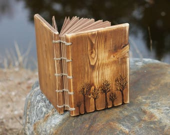 Rustic wood journal Forest family guest book