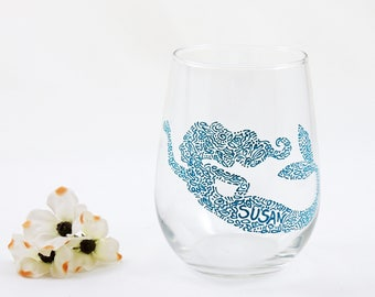 Personalized mermaid wine glass -Hand painted stemless glass - Sea Glass Collection