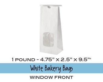 10 Gusseted Window Front WHITE Bakery Bags or Coffee Bags with Tab Lock Tin Ties . 1 lb