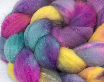 Handpainted spinning fiber, fibre, Merino, Tussah silk, 100g, felting supplies,  roving, spinning wool, combed top, Random Kindness