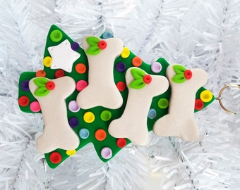 Christmas Tree for Four Dogs Ornament - Polymer Clay Dog Christmas Ornament - Dog Lovers Gift - Pet Ornament - Dog Owners Gift - 121510