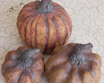 set of three rugged rustic stoneware pumpkins