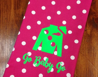 Hot pink polka dot hand towel with lime Jockey Silk, Kentucky Derby hand towel, Derby decor