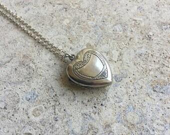 Vintage silver heart  locket, large engraved locket, FREE UK SHIPPING