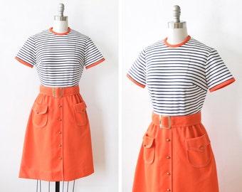 60s striped mod dress, vintage 60s dress, orange navy blue mod scooter dress, small s