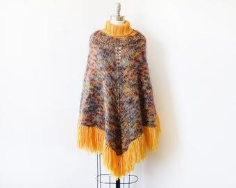 70s poncho, vintage 1970s knit poncho, turtleneck fringe poncho, gold and purple boho blanket poncho