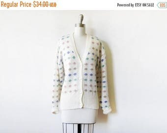 50% OFF SALE polka dot cardigan, vintage 80s white slouchy sweater, candy dots cardigan, 3xl
