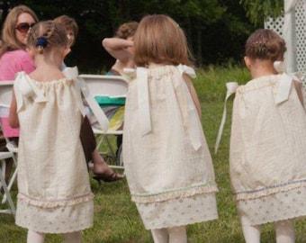 Custom Girls Pillowcase Dress Girls Sun Dress Shoulder Ties Girls Vintage Style Heirloom Dress Cream Ivory Flower Girls Dress Eyelet Lace