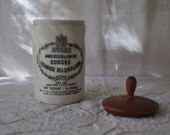 Antique Dundee Marmalade Pottery Jar/Vintage 1930s/Pot With Married Wood Lid