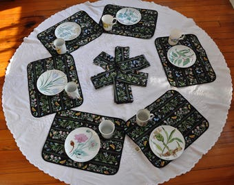 Set of Six Vintage Portmeirion Place Mats and Napkins/Vintage 1980s/Botanical Print/Bright Colors on Black