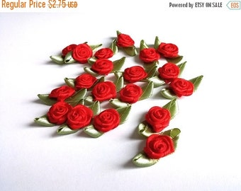 ON SALE 18 Red Satin Ribbons Flowers Embellishment 28x13mm