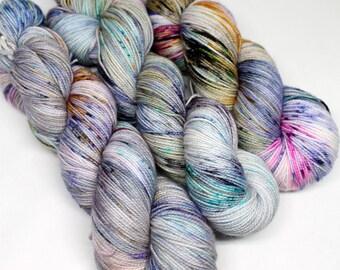 Hand Dyed  Speckled Sock Yarn - SW Sock 80/20 - Superwash Merino Nylon - 400 yards  - Lost and Wandering