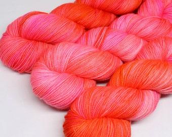 Hand Dyed Tonal Sock Yarn - SW Sock 80/20 - Superwash Merino Nylon - 400 yards  - Hot Damn