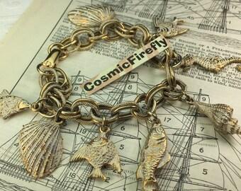 Vintage Nautical Charm Bracelet Sea Life Bracelet Antiqued Gold Plated Steampunk Bracelet Woman's Bracelet
