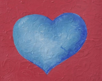 Original Artwork Painting - Infinity Heart Series: Blue Heart, Pink Heart - Valentine Home Decor