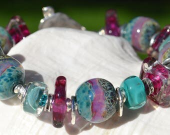 Reserve for Cheryl-LOTS of LOVE-Handmade Lampwork and Sterling Silver Bracelet