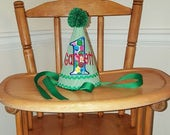 Green and White Striped Birthday Hat