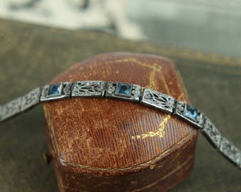 antique 1920s sterling bracelet vtg art deco filigree silver engraved rhinestone