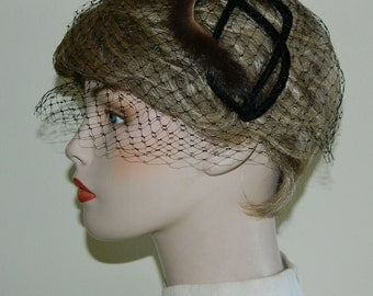 50s 60s Mink and Velvet Veiled Head Band Hair Net Cap Juliet Cap Hat Mad Men